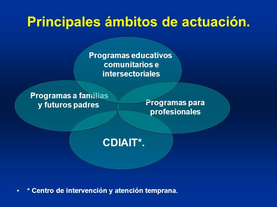 Principales ámbitos de actuación. * Centro de intervención y atención temprana. CDIAIT*. Programas a familias y futuros padres Programas para profesio