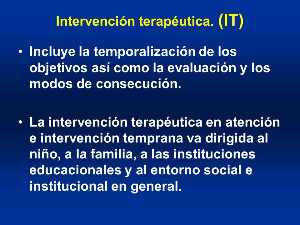 Intervención terapéutica. (IT) Incluye la temporalización de los objetivos así como la evaluación y los modos de consecución. La intervención terapéut