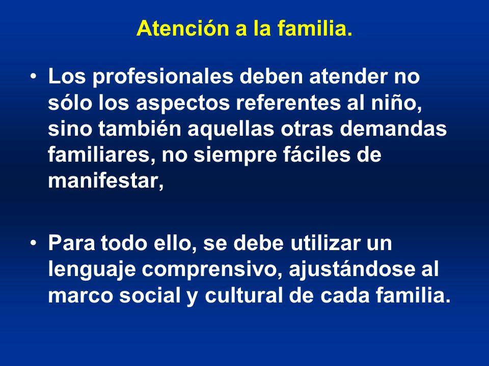 Atención a la familia. Los profesionales deben atender no sólo los aspectos referentes al niño, sino también aquellas otras demandas familiares, no si