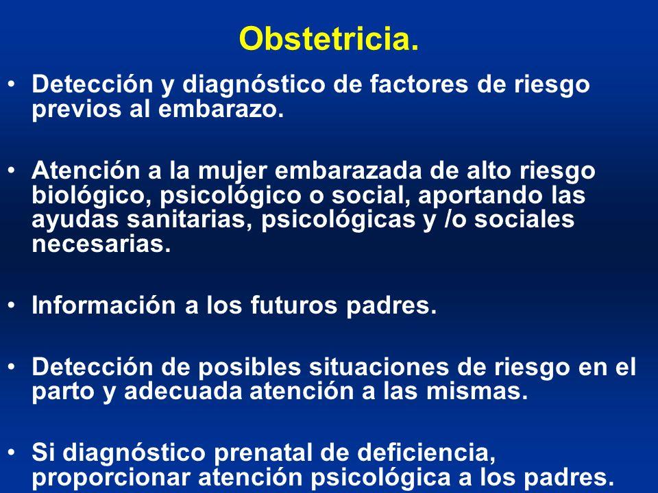 Obstetricia. Detección y diagnóstico de factores de riesgo previos al embarazo. Atención a la mujer embarazada de alto riesgo biológico, psicológico o