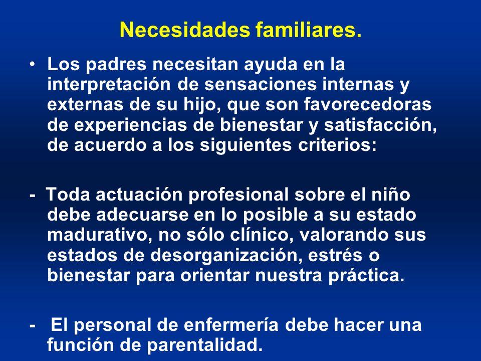 Necesidades familiares. Los padres necesitan ayuda en la interpretación de sensaciones internas y externas de su hijo, que son favorecedoras de experi