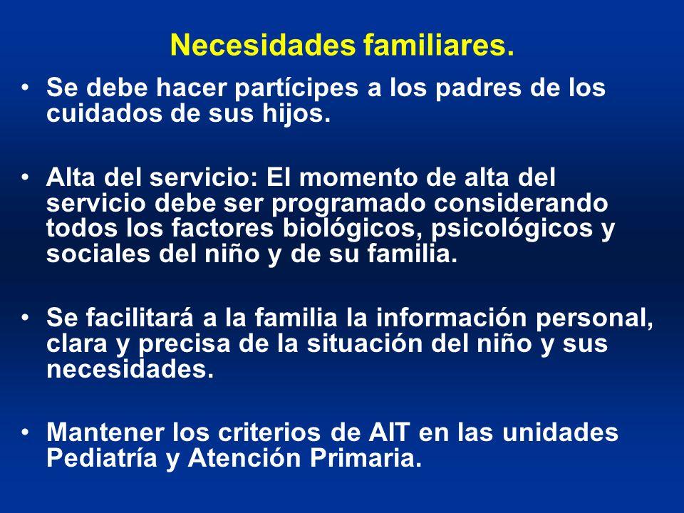 Necesidades familiares. Se debe hacer partícipes a los padres de los cuidados de sus hijos. Alta del servicio: El momento de alta del servicio debe se