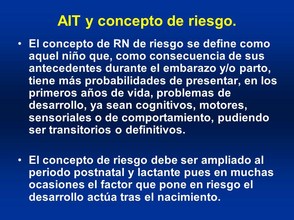 AIT y concepto de riesgo. El concepto de RN de riesgo se define como aquel niño que, como consecuencia de sus antecedentes durante el embarazo y/o par