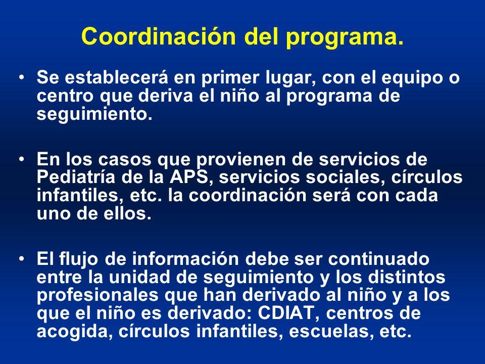 Coordinación del programa. Se establecerá en primer lugar, con el equipo o centro que deriva el niño al programa de seguimiento. En los casos que prov