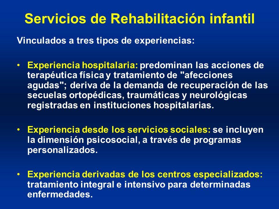Servicios de Rehabilitación infantil Vinculados a tres tipos de experiencias: Experiencia hospitalaria: predominan las acciones de terapéutica física
