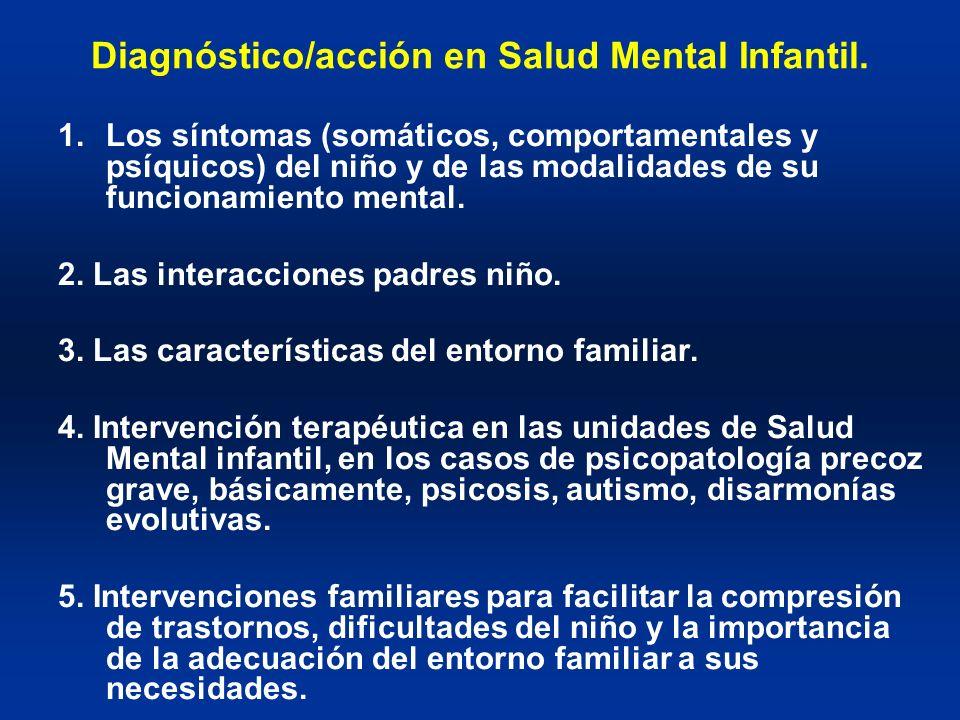 Diagnóstico/acción en Salud Mental Infantil. 1.Los síntomas (somáticos, comportamentales y psíquicos) del niño y de las modalidades de su funcionamien