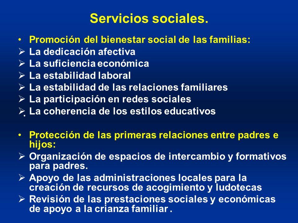 Servicios sociales. Promoción del bienestar social de las familias: La dedicación afectiva La suficiencia económica La estabilidad laboral La estabili