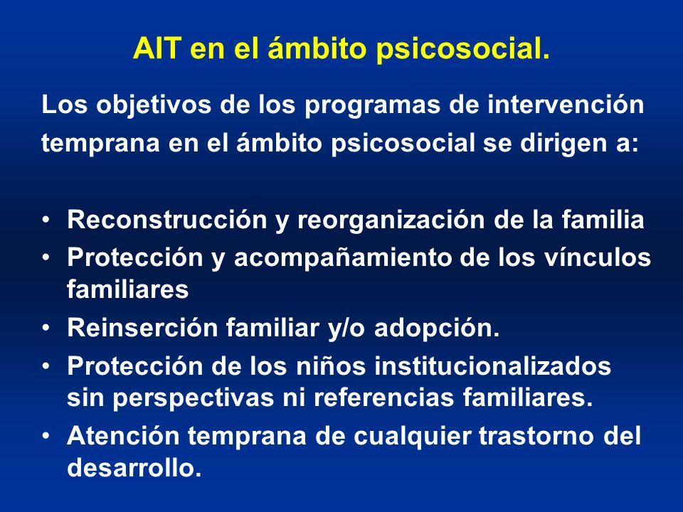 AIT en el ámbito psicosocial. Los objetivos de los programas de intervención temprana en el ámbito psicosocial se dirigen a: Reconstrucción y reorgani