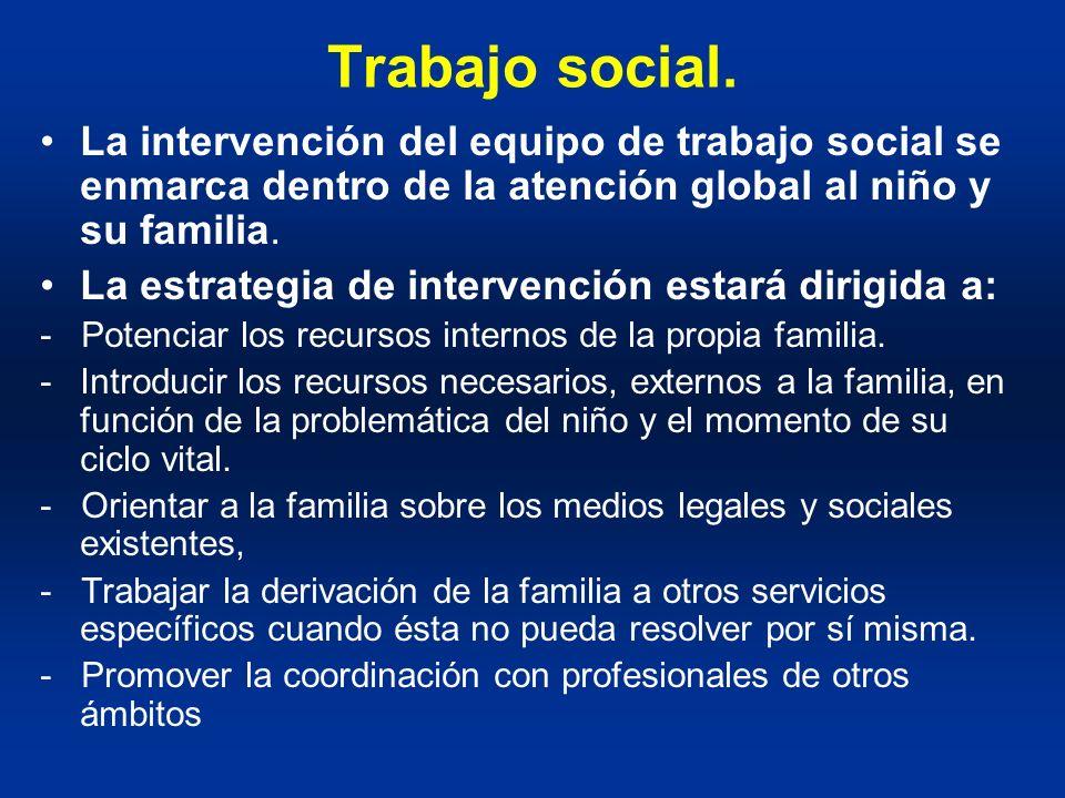 Trabajo social. La intervención del equipo de trabajo social se enmarca dentro de la atención global al niño y su familia. La estrategia de intervenci