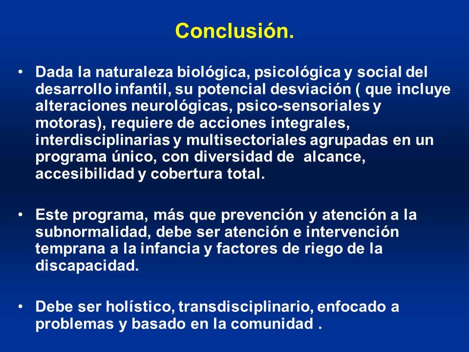 Conclusión. Dada la naturaleza biológica, psicológica y social del desarrollo infantil, su potencial desviación ( que incluye alteraciones neurológica