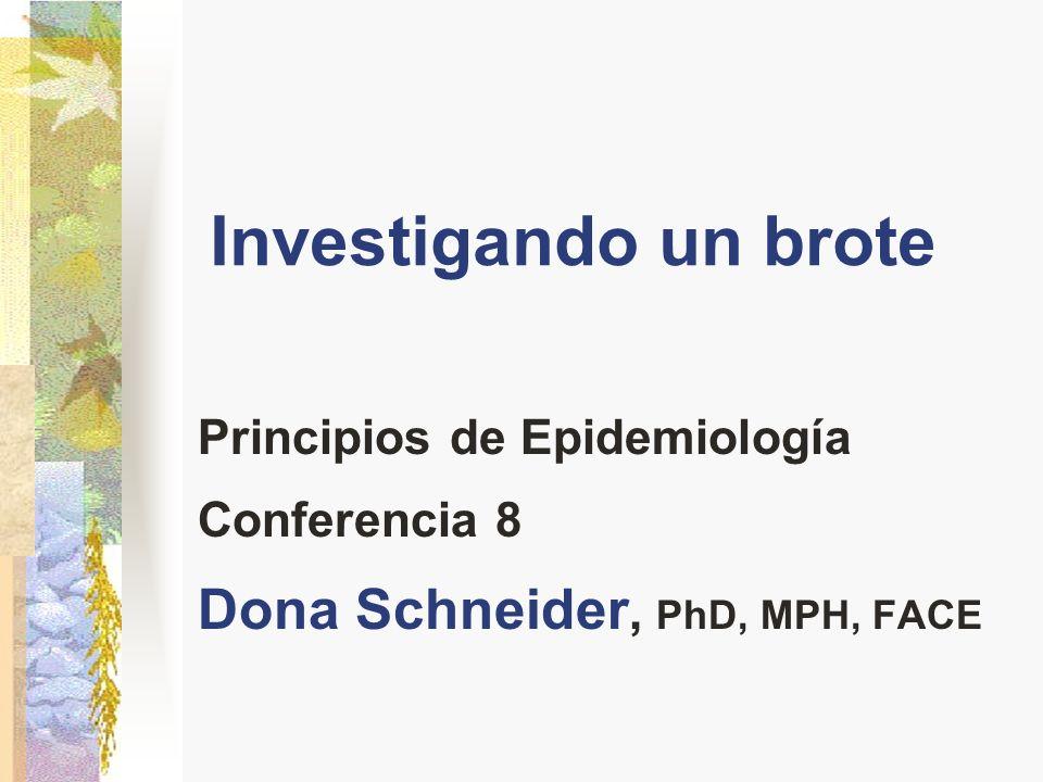 Investigando un brote Principios de Epidemiología Conferencia 8 Dona Schneider, PhD, MPH, FACE