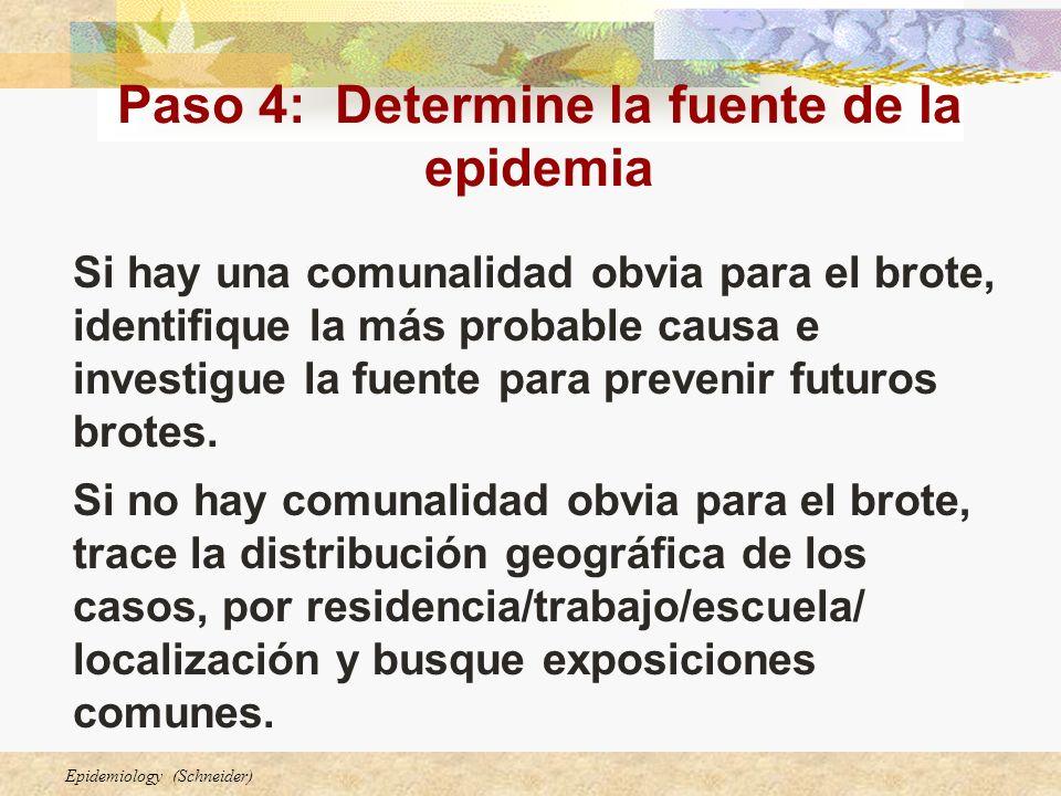 Epidemiology (Schneider) Paso 4: Determine la fuente de la epidemia Si hay una comunalidad obvia para el brote, identifique la más probable causa e in