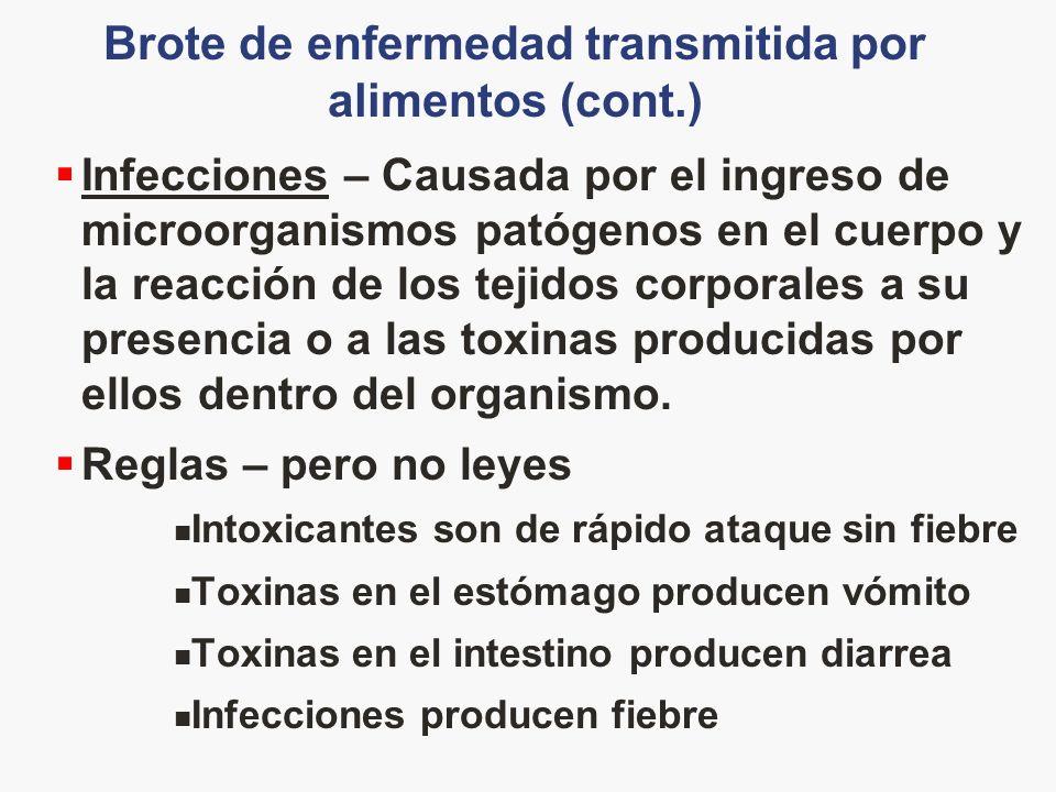 Brote de enfermedad transmitida por alimentos (cont.) Infecciones – Causada por el ingreso de microorganismos patógenos en el cuerpo y la reacción de