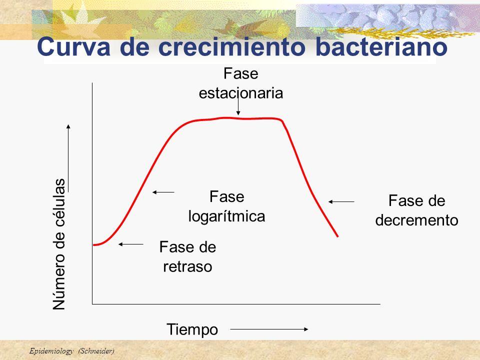 Epidemiology (Schneider) Curva de crecimiento bacteriano Número de células Tiempo Fase de decremento Fase estacionaria Fase logarítmica Fase de retras