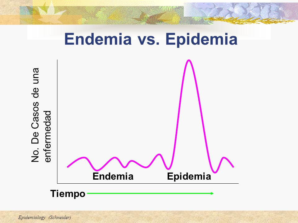 Epidemiology (Schneider) Endemia vs. Epidemia EndemiaEpidemia No. De Casos de una enfermedad Tiempo