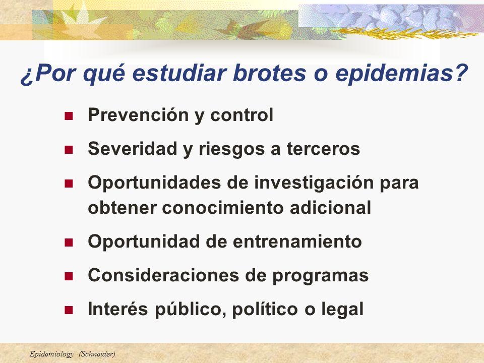 Epidemiology (Schneider) ¿Por qué estudiar brotes o epidemias? Prevención y control Severidad y riesgos a terceros Oportunidades de investigación para