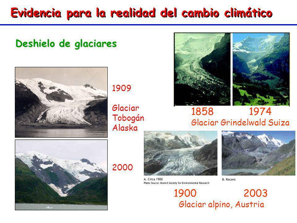 Evidencia para la realidad del cambio climático Deshielo de glaciares 1900 2003 Glaciar alpino, Austria 1900 2003 Glaciar alpino, Austria 1858 1974 Gl