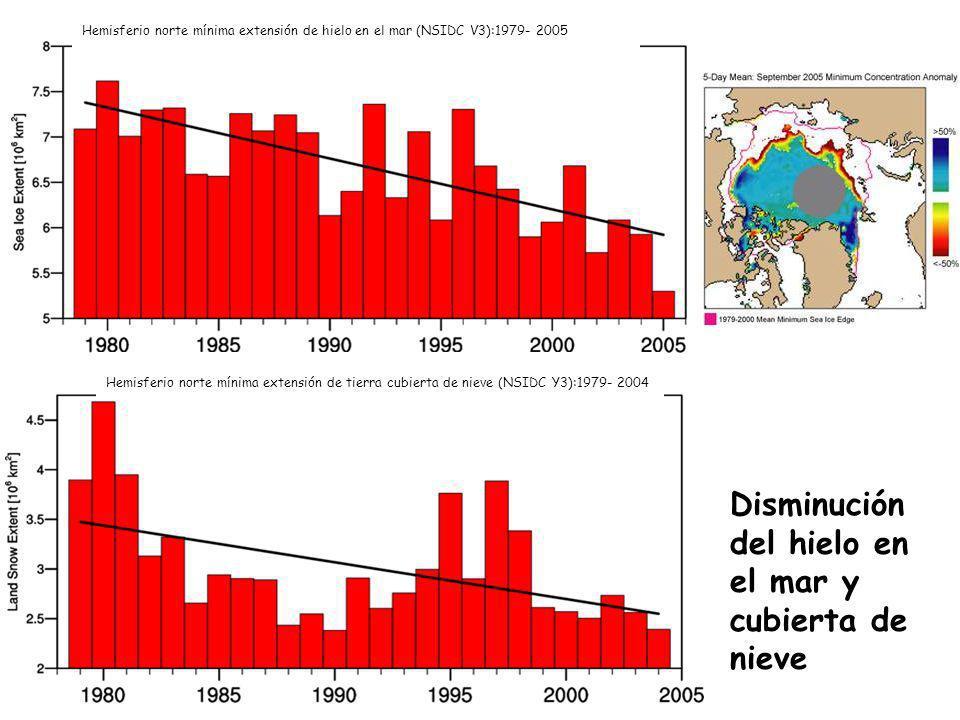 Hemisferio norte mínima extensión de tierra cubierta de nieve (NSIDC Y3):1979- 2004 Disminución del hielo en el mar y cubierta de nieve Hemisferio nor