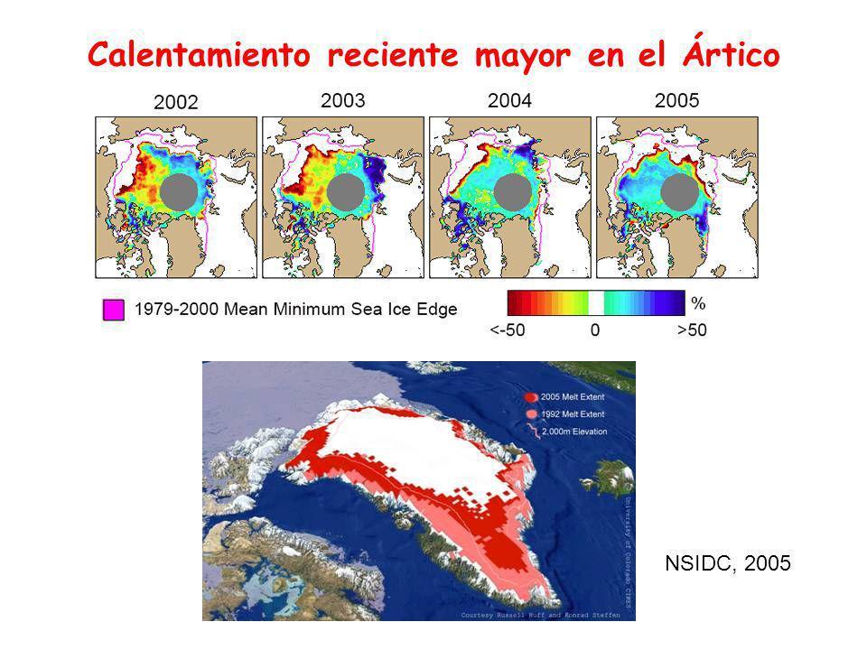 Calentamiento reciente mayor en el Ártico NSIDC, 2005