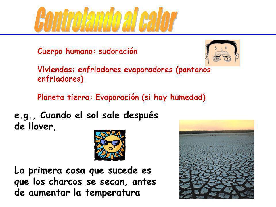Cuerpo humano: sudoración Viviendas: enfriadores evaporadores (pantanos enfriadores) Planeta tierra: Evaporación (si hay humedad) Cuerpo humano: sudor