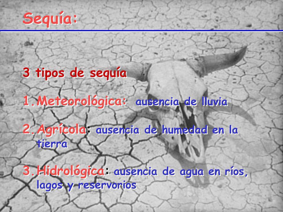 Sequía: 3 tipos de sequía 1.Meteorológica: ausencia de lluvia 2.Agrícola: ausencia de humedad en la tierra 3.Hidrológica: ausencia de agua en ríos, la