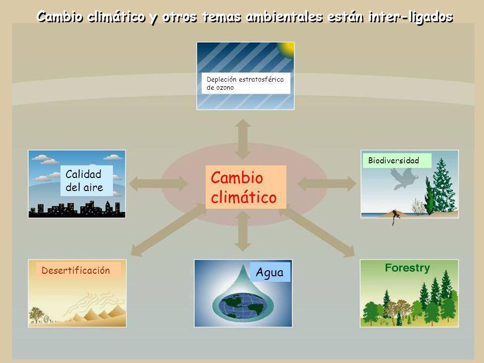 Cambio climático y otros temas ambientales están inter-ligados Cambio climático Desertificación Agua Calidad del aire Depleción estratosférica de ozon