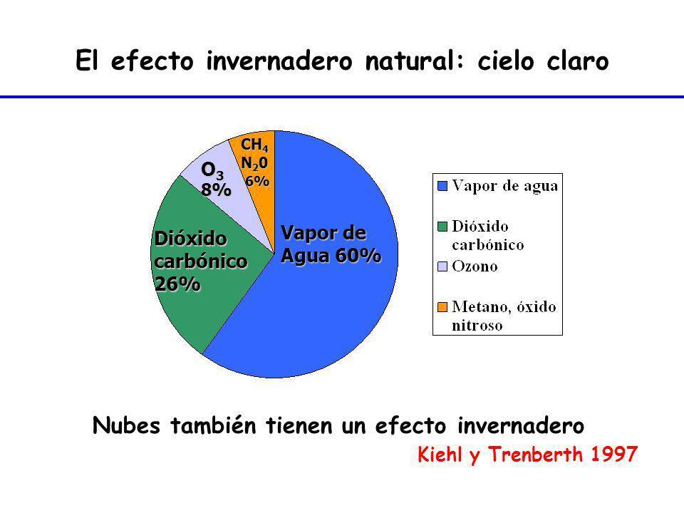Vapor de Agua 60% Dióxidocarbónico26% O 3 8% CH 4 N 2 0 6% 6% El efecto invernadero natural: cielo claro Nubes también tienen un efecto invernadero Ki