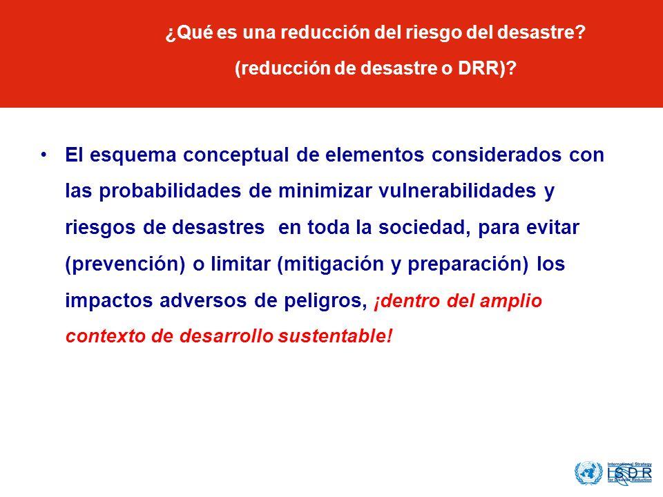 ¿Qué es una reducción del riesgo del desastre? (reducción de desastre o DRR)? El esquema conceptual de elementos considerados con las probabilidades d