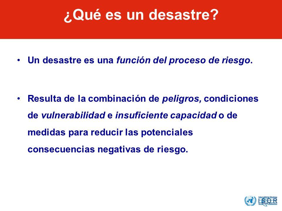 What is a Disaster? Un desastre es una función del proceso de riesgo. Resulta de la combinación de peligros, condiciones de vulnerabilidad e insuficie