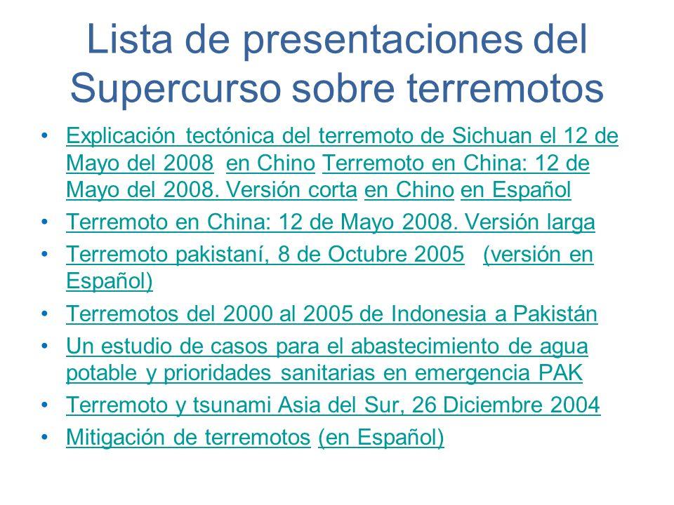 Lista de presentaciones del Supercurso sobre terremotos Explicación tectónica del terremoto de Sichuan el 12 de Mayo del 2008 en Chino Terremoto en Ch