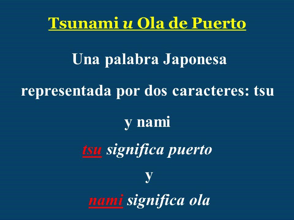 Tsunami u Ola de Puerto Una palabra Japonesa representada por dos caracteres: tsu y nami tsu significa puerto y nami significa ola
