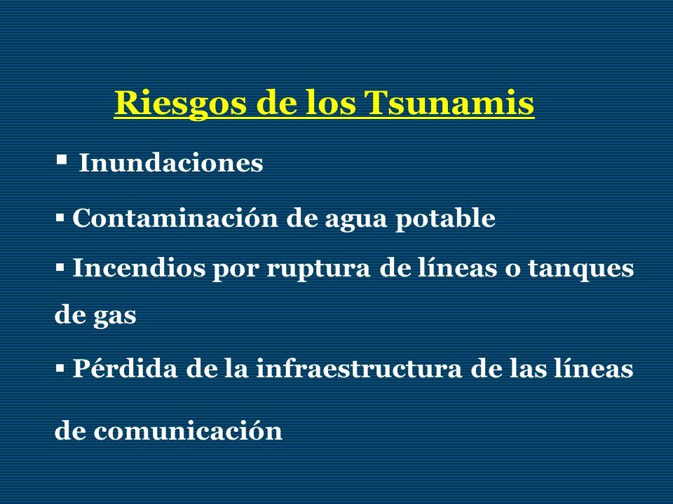 Riesgos de los Tsunamis Inundaciones Contaminación de agua potable Incendios por ruptura de líneas o tanques de gas Pérdida de la infraestructura de l