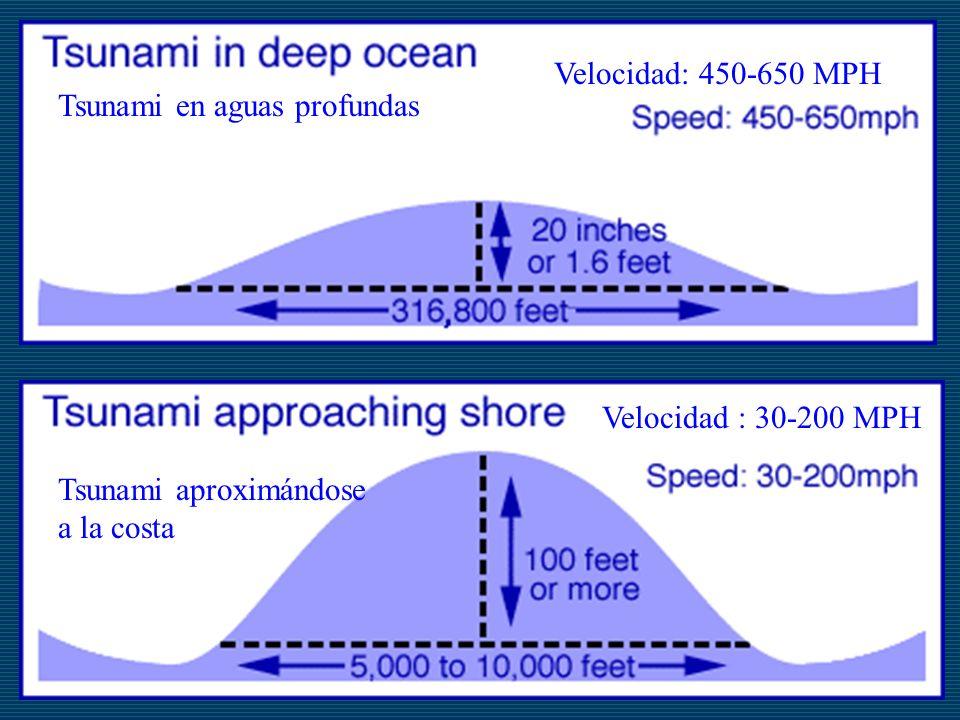 Tsunami en aguas profundas Velocidad: 450-650 MPH Tsunami aproximándose a la costa Velocidad : 30-200 MPH
