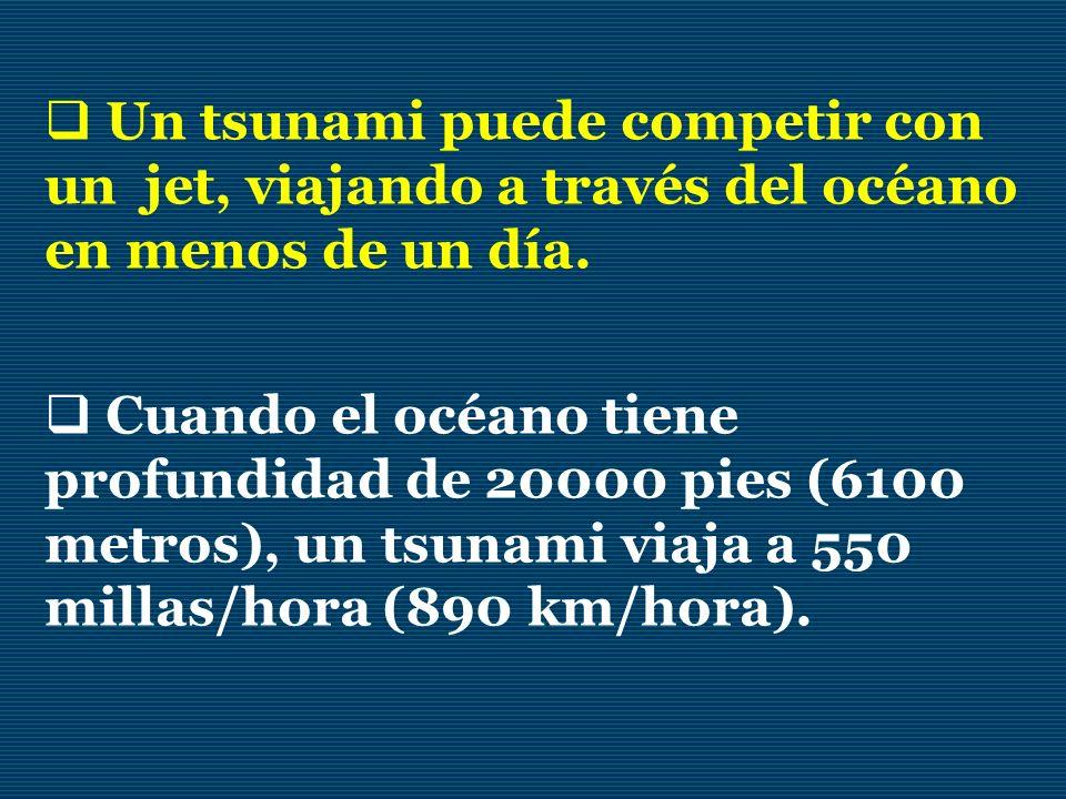 Un tsunami puede competir con un jet, viajando a través del océano en menos de un día. Cuando el océano tiene profundidad de 20000 pies (6100 metros),