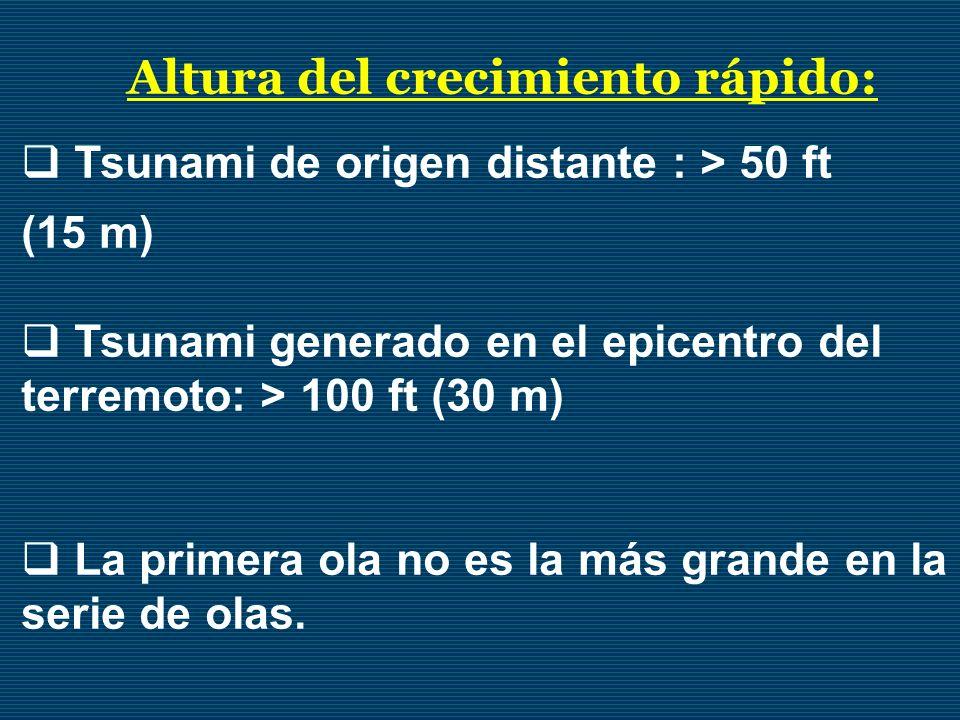 Altura del crecimiento rápido: Tsunami de origen distante : > 50 ft (15 m) Tsunami generado en el epicentro del terremoto: > 100 ft (30 m) La primera