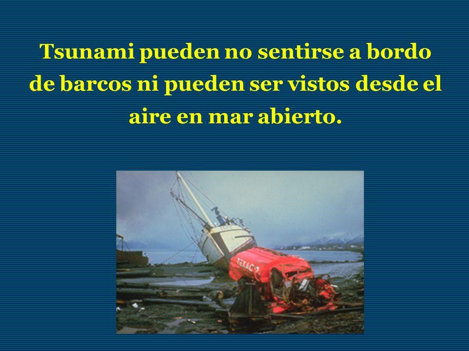 Tsunami pueden no sentirse a bordo de barcos ni pueden ser vistos desde el aire en mar abierto.