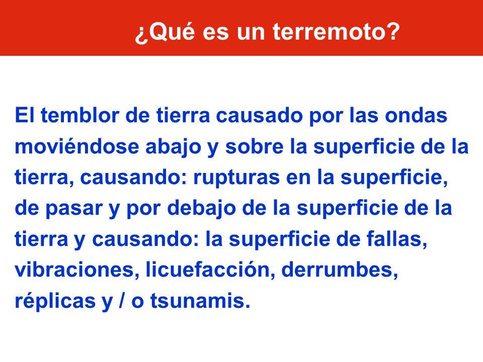 ¿Qué es un terremoto? El temblor de tierra causado por las ondas moviéndose abajo y sobre la superficie de la tierra, causando: rupturas en la superfi