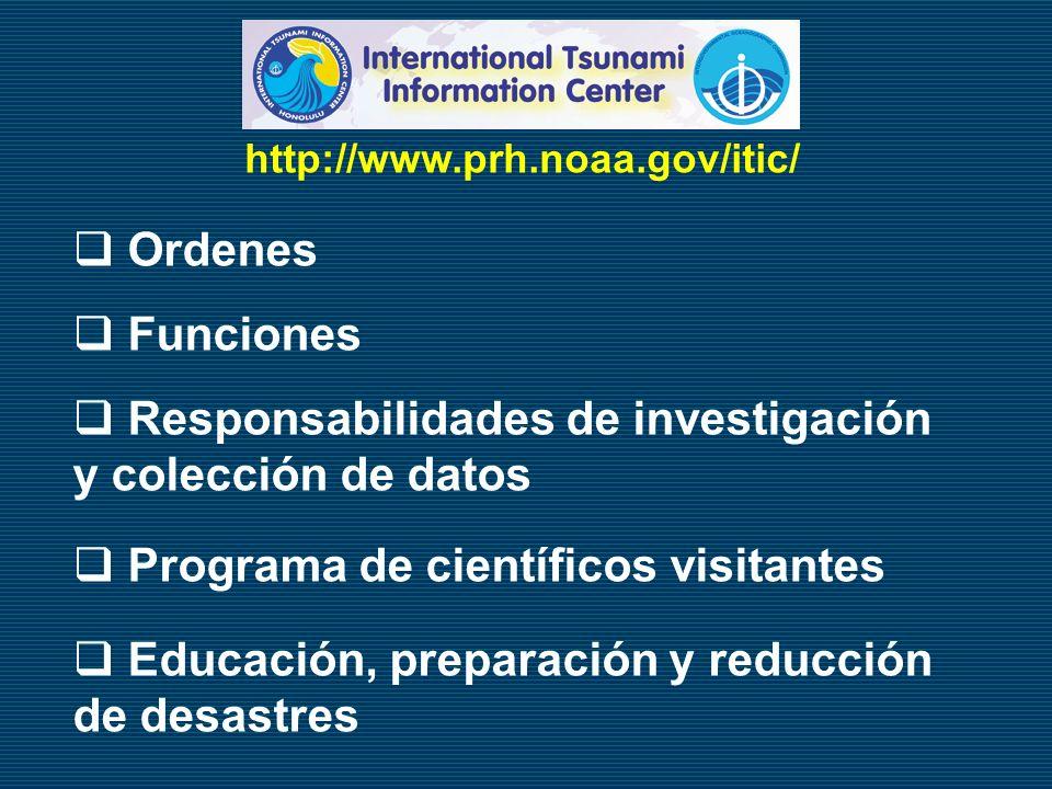 Ordenes Funciones Responsabilidades de investigación y colección de datos Programa de científicos visitantes Educación, preparación y reducción de des