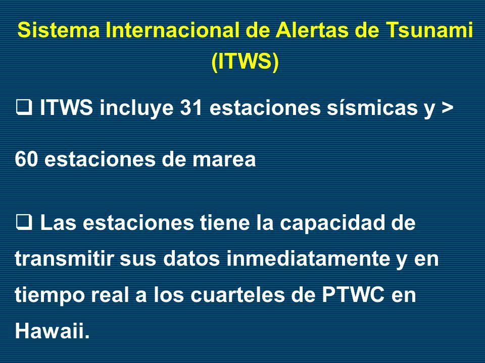 Sistema Internacional de Alertas de Tsunami (ITWS) ITWS incluye 31 estaciones sísmicas y > 60 estaciones de marea Las estaciones tiene la capacidad de