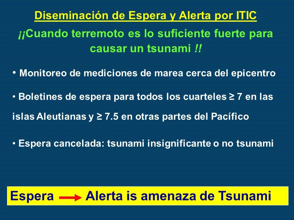 Diseminación de Espera y Alerta por ITIC ¡¡Cuando terremoto es lo suficiente fuerte para causar un tsunami !! Monitoreo de mediciones de marea cerca d