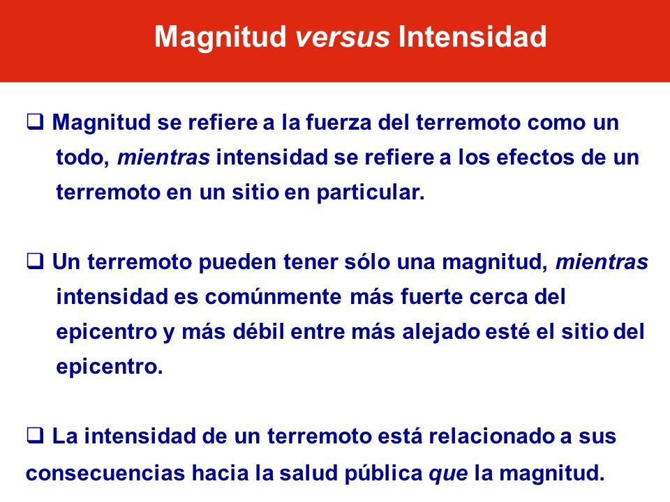 Magnitud se refiere a la fuerza del terremoto como un todo, mientras intensidad se refiere a los efectos de un terremoto en un sitio en particular. Un