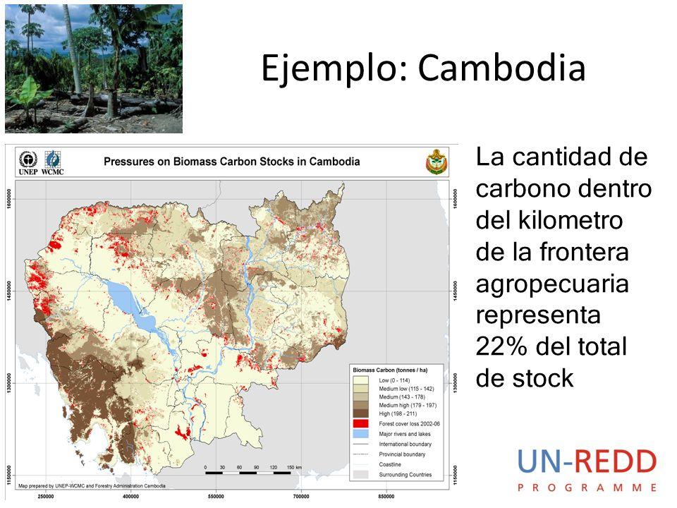Ejemplo: Cambodia La cantidad de carbono dentro del kilometro de la frontera agropecuaria representa 22% del total de stock