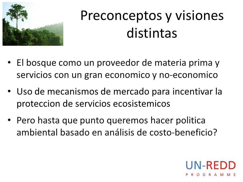 El bosque como un proveedor de materia prima y servicios con un gran economico y no-economico Uso de mecanismos de mercado para incentivar la proteccion de servicios ecosistemicos Pero hasta que punto queremos hacer politica ambiental basado en análisis de costo-beneficio.