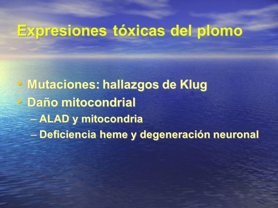 Expresiones tóxicas del plomo Mutaciones: hallazgos de Klug Daño mitocondrial –ALAD y mitocondria –Deficiencia heme y degeneración neuronal Mutaciones