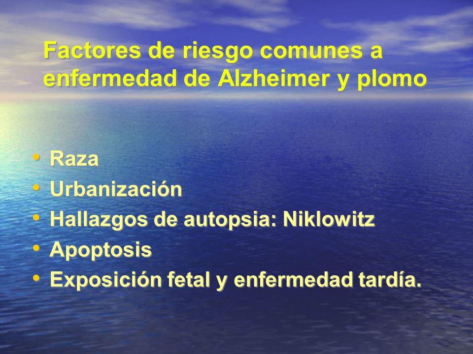 Factores de riesgo comunes a enfermedad de Alzheimer y plomo Raza Urbanización Hallazgos de autopsia: Niklowitz Apoptosis Exposición fetal y enfermeda