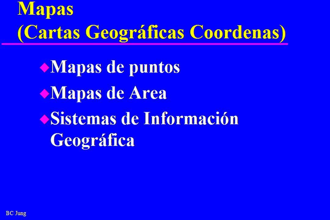BC Jung Mapas (Cartas Geográficas Coordenas) u Mapas de puntos u Mapas de Area u Sistemas de Información Geográfica