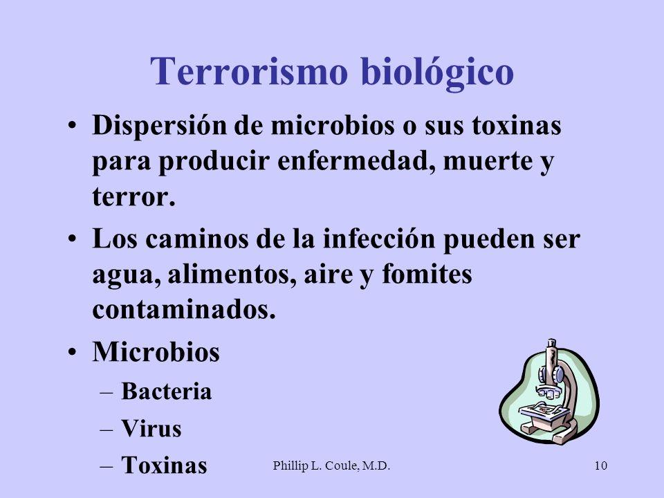 Phillip L. Coule, M.D.10 Terrorismo biológico Dispersión de microbios o sus toxinas para producir enfermedad, muerte y terror. Los caminos de la infec
