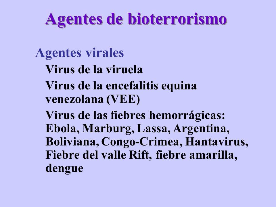 Agentes de bioterrorismo Agentes virales Virus de la viruela Virus de la encefalitis equina venezolana (VEE) Virus de las fiebres hemorrágicas: Ebola,