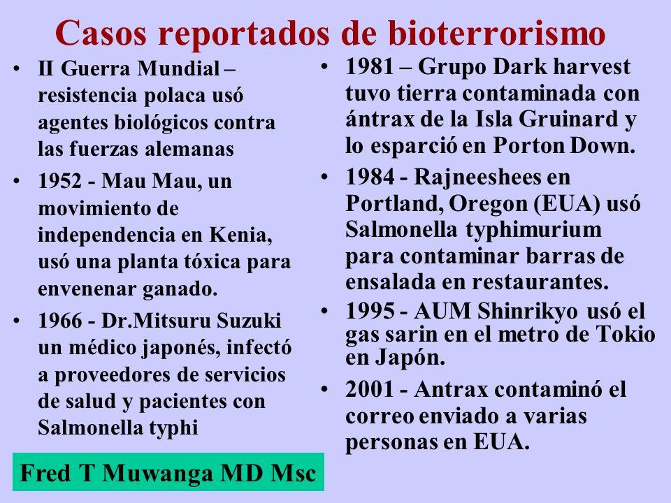 Casos reportados de bioterrorismo II Guerra Mundial – resistencia polaca usó agentes biológicos contra las fuerzas alemanas 1952 - Mau Mau, un movimie