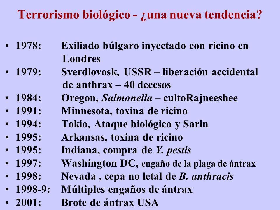 Terrorismo biológico - ¿una nueva tendencia? 1978:Exiliado búlgaro inyectado con ricino en Londres 1979:Sverdlovosk, USSR – liberación accidental de a